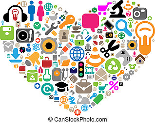 Set of icons in heart shape - Set of icons for website,...