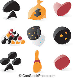 Smooth game and gambling icons - Set of smooth game and...