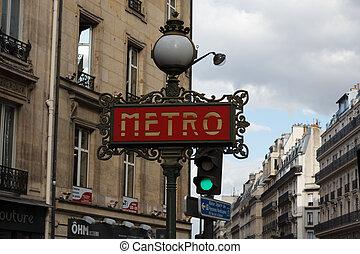 Paris metro sign with lamp
