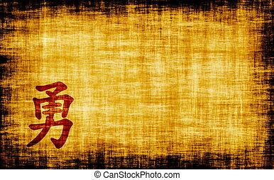 Chinês, caligrafia, -, coragem