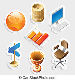 Sticker icon set for business and money Vector illustration...