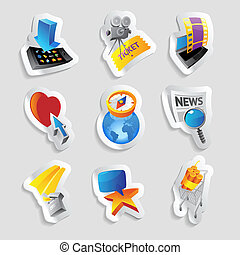 Icons for media and entertainment. Vector illustration.