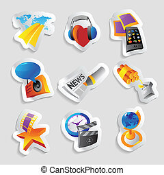 Icons for media and entertainment Vector illustration