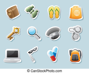 Sticker icons for personal belongings - Sticker button set....