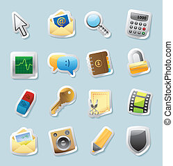 Sticker icons signs, interface - Sticker button set Icons...