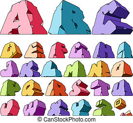 Multicolored alphabet: letters. Vector ilustration.