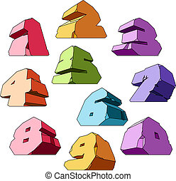 Multicolored alphabet: digits Vector ilustration