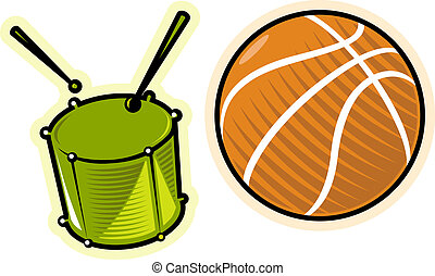 Vector objects drum and ball - Objects: drum and ball....