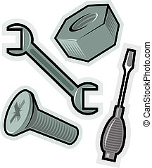 Vector objects for screw - Objects for screwing. Vector...