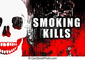 Smoking Kills Warning Text Sign on Abstract