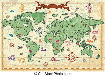 Colorful ancient World map - Retro-styled map of the World...
