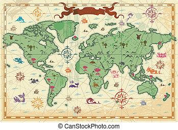 coloridos, antiga, mundo, mapa