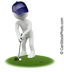3D white people Golfer - 3d white golfer putting in golf...