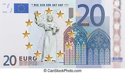 European flag  - A broken European flag with a Christ statue