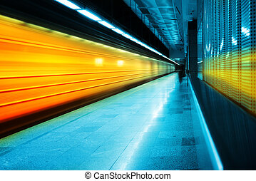 Subway train in the station. High speed train with motion...