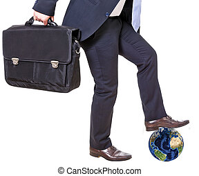businessman crushes earth isolated on a white background