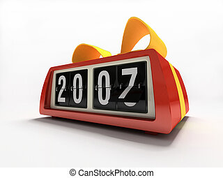Red watch - counter on white background New year gift