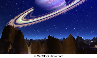 Planet similar to Saturn - Over a mountain landscape of a...