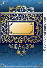 fancy gold frame - fancy golden ornamental frame on blue...