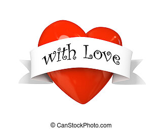 Valentine heart with label with love isolated on white...