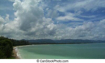 Thailand Beach pan cloudy