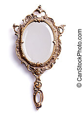 Mirror - Beautiful vintage isolated hand mirror.