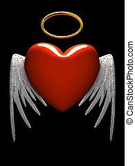 vermelho, heart-angel, asas, isolado, pretas, fundo