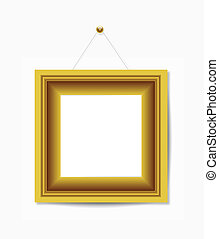 Gold picture frame hanging on white - Gold picture frame...