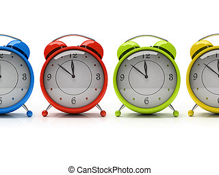 Four colourful alarm clocks isolated on white background 3D...