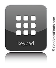 Keypad sign on black glossy button on white