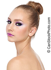 Make-up - Portrait of young beautiful girl with fancy...