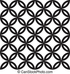 Four leaf abstract floral element combined with four circle...