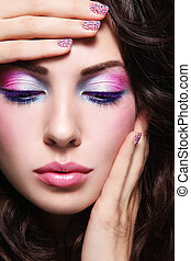 Caviar manicure - Close-up portrait of young beautiful woman...