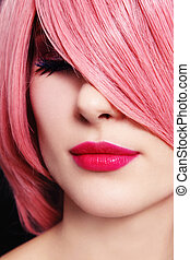 Pink - Close-up portrait of beautiful woman with pink hair...