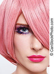 Pink wig - Close-up portrait of young beautiful woman in...