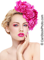 Girl with peonies - Young beautiful healthy blond girl with...