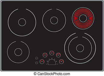 Modern electric stove surface with the included element...