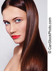 Healthy hair - Portrait of young beautiful fresh woman with...