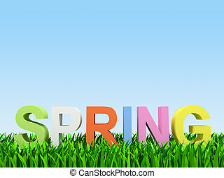 "varicoloured word ""spring"" on herb on turn blue 