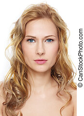 Clear beauty - Portrait of young beautiful fresh woman with...