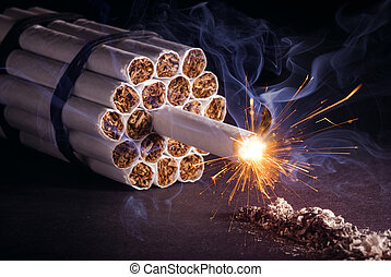 Explosive Addiction - A pack of cigarettes in the form of...