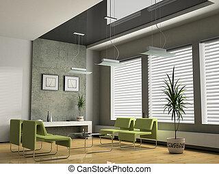 interior, oficina, negociaciones, 3D, interpretación