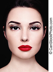 Fancy eyelashes - Portrait of beautiful girl with red...
