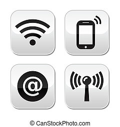 Wifi network, internet zone buttons - Wireless internet,...