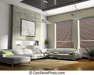 interior, Moderno, sala de estar, 3D, interpretación