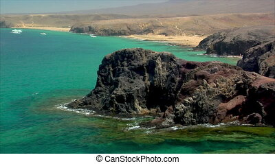famous lanzarote papagayo beach rocks close