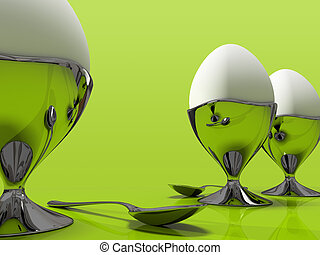 Three eggs and one metallic spoo isolated on green background