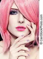 Hair and manicure - Portrait of young beautiful woman with...