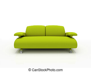 green modern sofa on white background insulated 3d