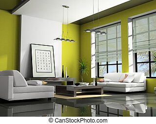 Home interior with sofas green 3D rendering